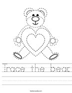 Trace the bear Handwriting Sheet