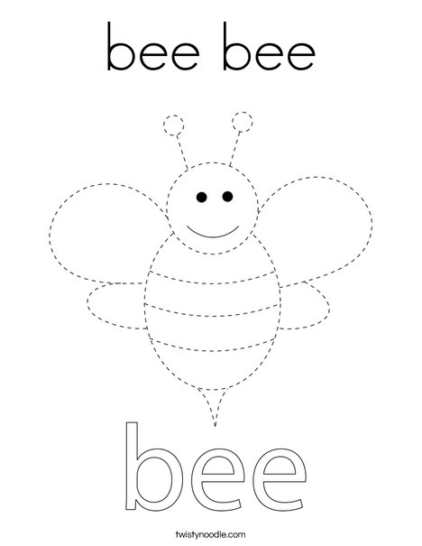 Trace the Bee Coloring Page