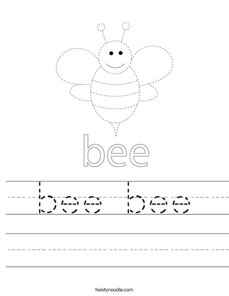 Trace the Bee Worksheet