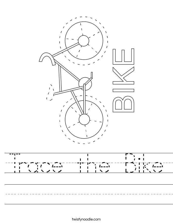 Trace the Bike Worksheet