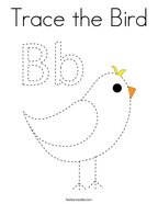Trace the Bird Coloring Page