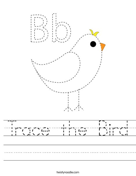 Trace the Bird Worksheet
