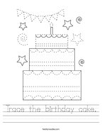 Trace the birthday cake Handwriting Sheet