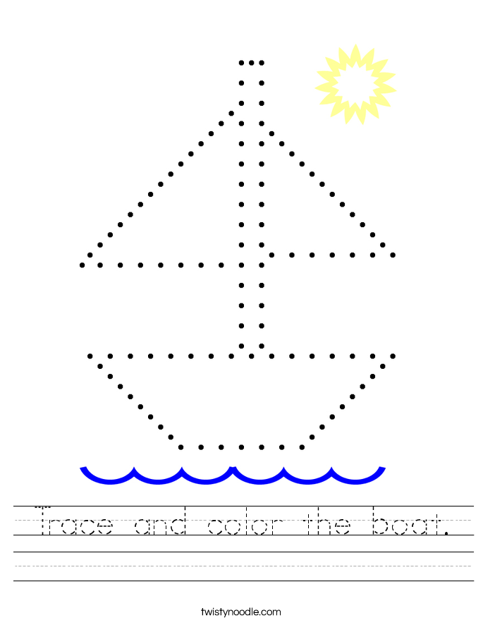Trace and color the boat. Worksheet