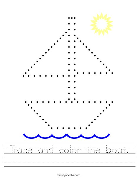 Trace the boat. Worksheet