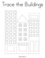 Trace the Buildings Coloring Page