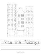 Trace the Buildings Handwriting Sheet