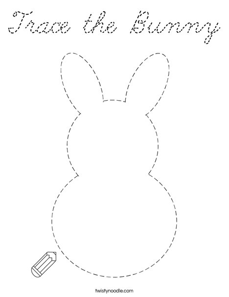 Trace the Bunny Coloring Page