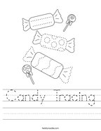 Candy Tracing Handwriting Sheet