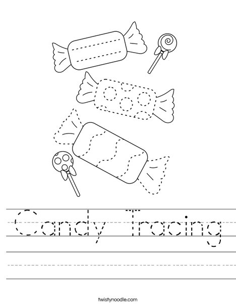 Trace the Candy Worksheet