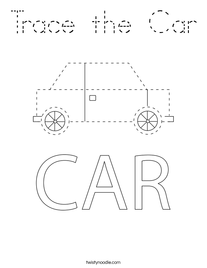 Trace the Car Coloring Page
