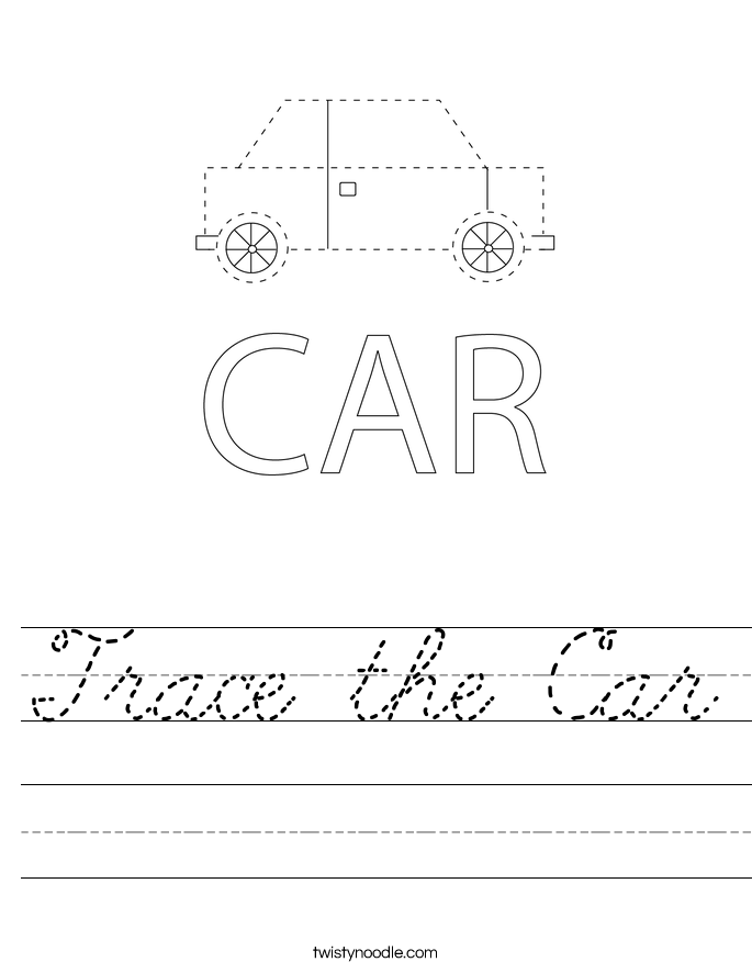Trace the Car Worksheet