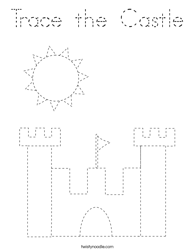 Trace the Castle Coloring Page
