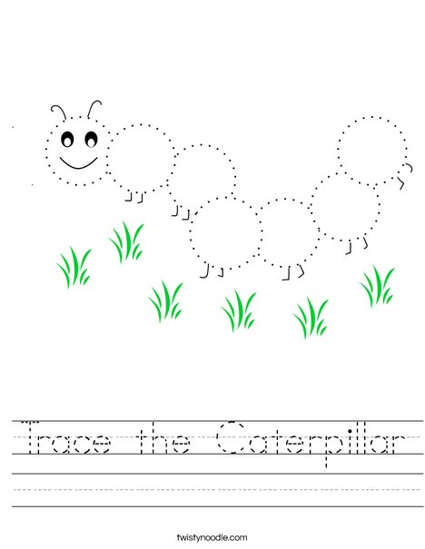 Trace the Caterpillar Worksheet