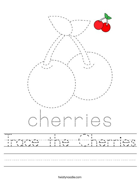 Trace the Cheries Worksheet