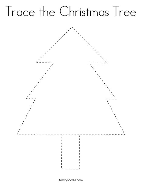 Trace the Christmas Tree Coloring Page