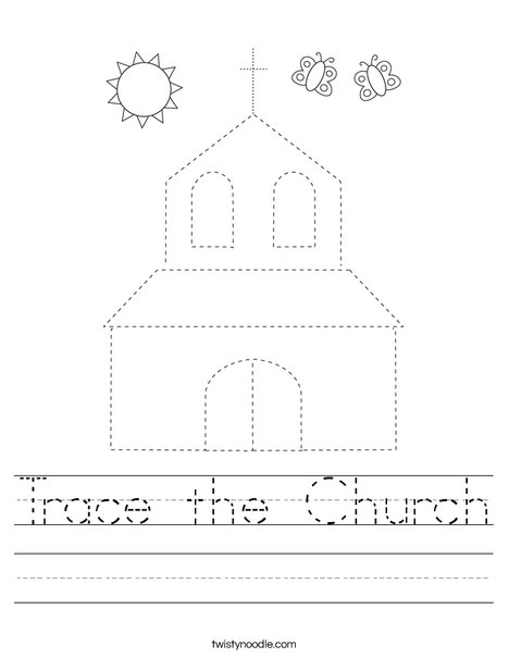 Trace the Church Worksheet