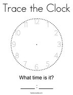 Trace the Clock Coloring Page