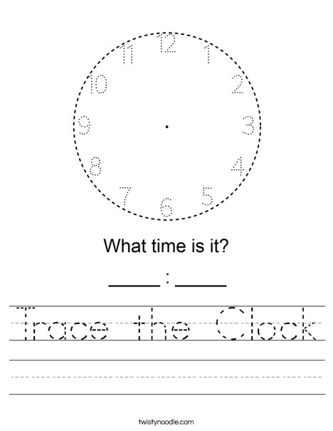 Trace the Clock Worksheet
