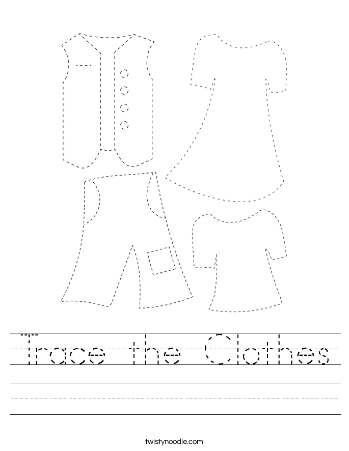 Trace the Clothes Worksheet