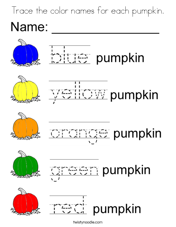 Trace the color names for each pumpkin. Coloring Page