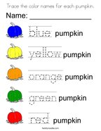 Trace the color names for each pumpkin Coloring Page