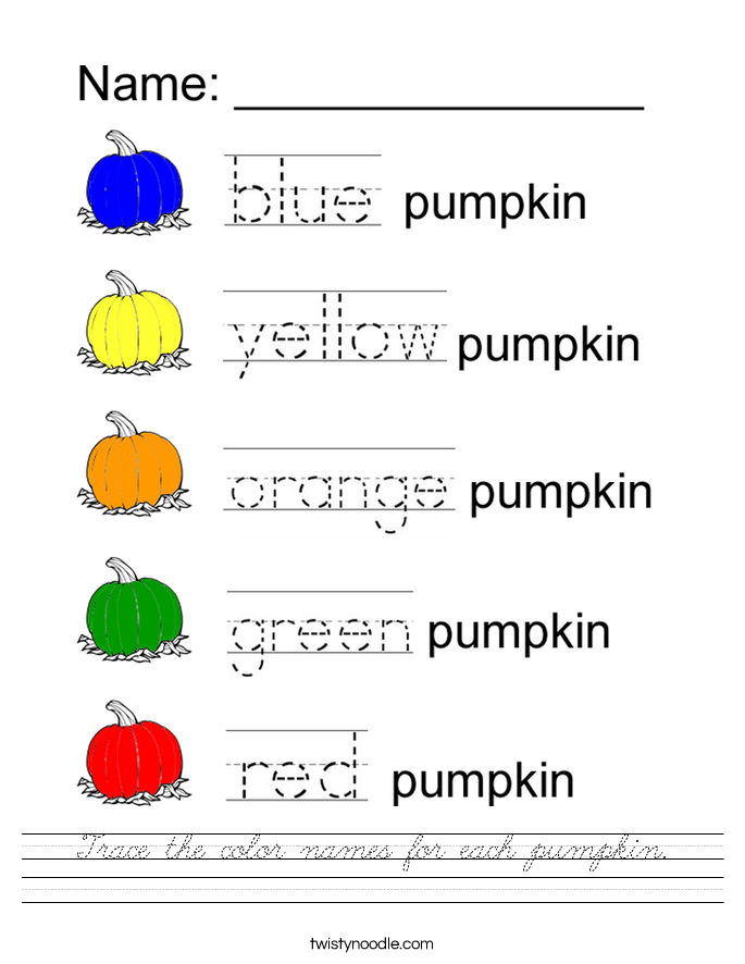 Trace the color names for each pumpkin. Worksheet