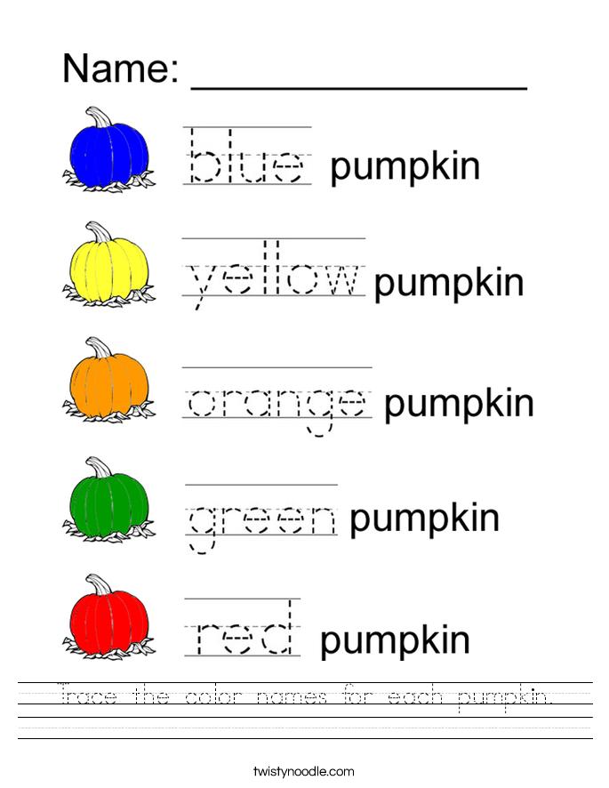 trace the color names for each pumpkin worksheet twisty noodle. Black Bedroom Furniture Sets. Home Design Ideas