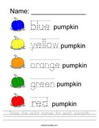 Trace the color names for each pumpkin Handwriting Sheet