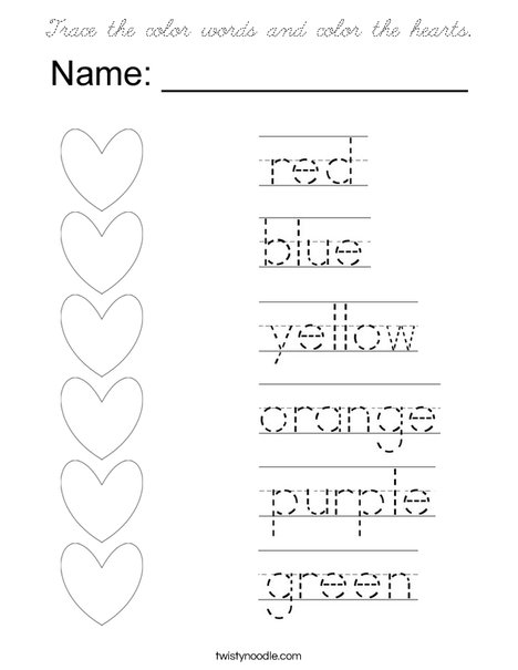 Trace the color words and color the hearts. Coloring Page