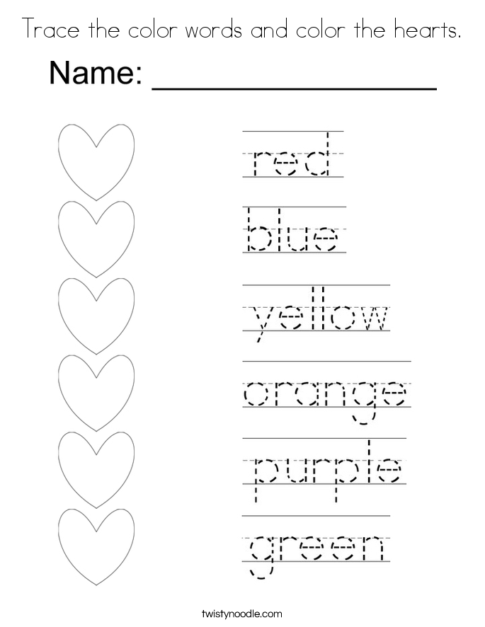 Trace The Color Words And Color The Hearts Coloring Page Colors Coloring Pages
