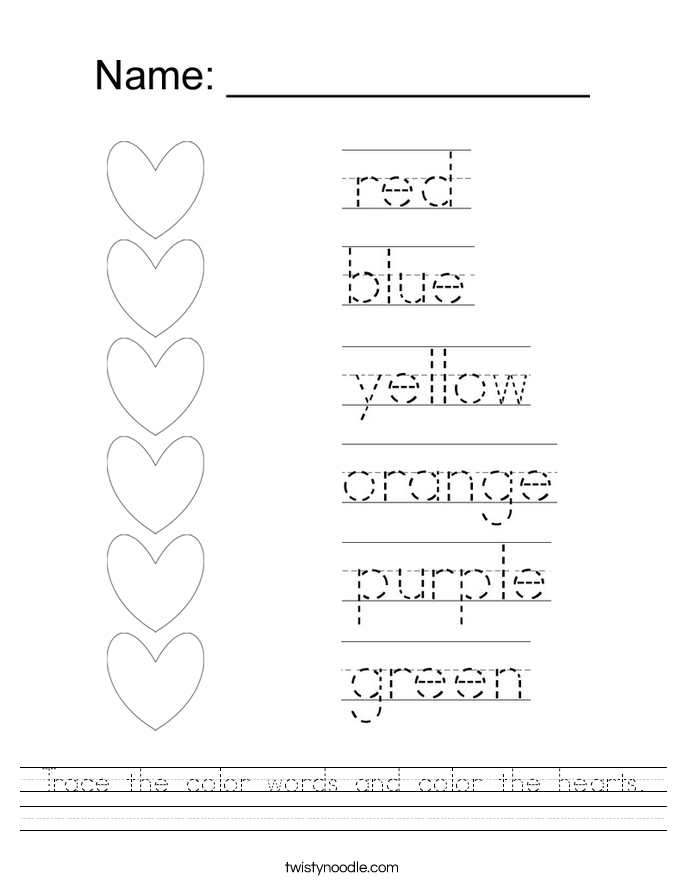 Trace the color words and color the hearts Worksheet Twisty Noodle – Name Tracer Worksheets