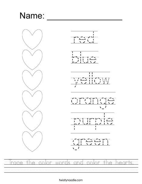 Trace the color words and color the hearts. Worksheet