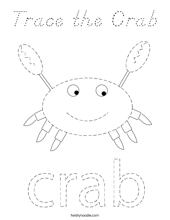 Trace the Crab Coloring Page