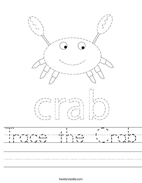 Trace the Crab Worksheet