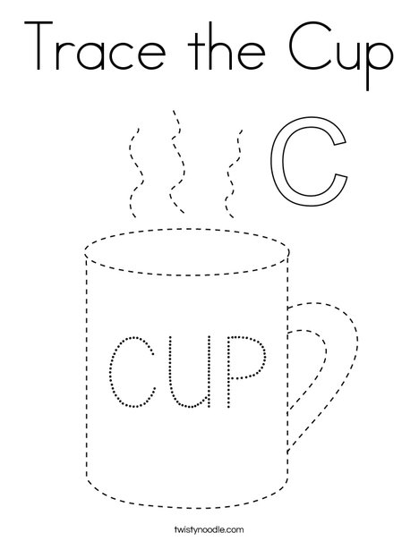 Trace the cup Coloring Page