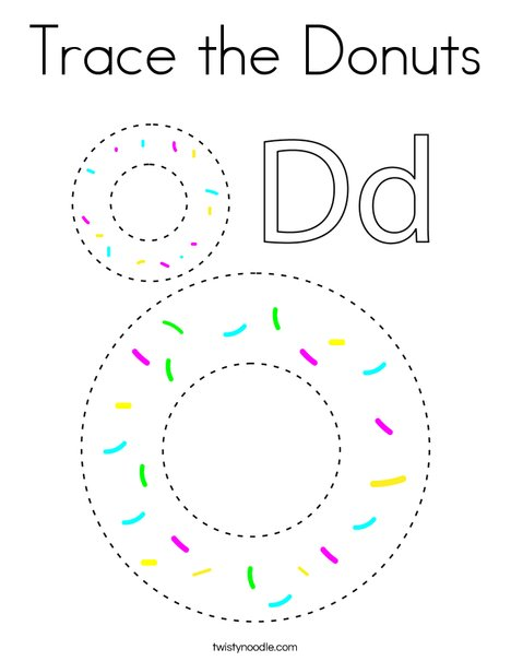 Trace the Donuts Coloring Page