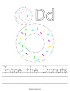 Trace the Donuts Handwriting Sheet
