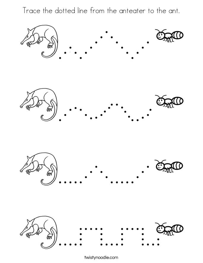 Trace The Dotted Line From Anteater To Ant Coloring Page