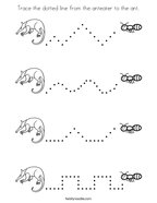 Trace the dotted line from the anteater to the ant Coloring Page
