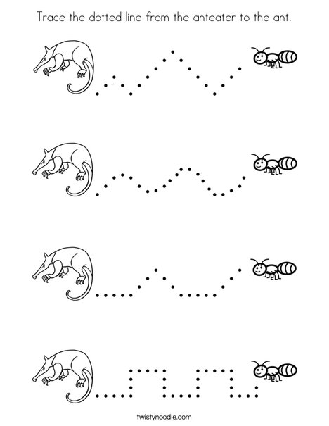Trace the dotted line from the anteater to the ant. Coloring Page