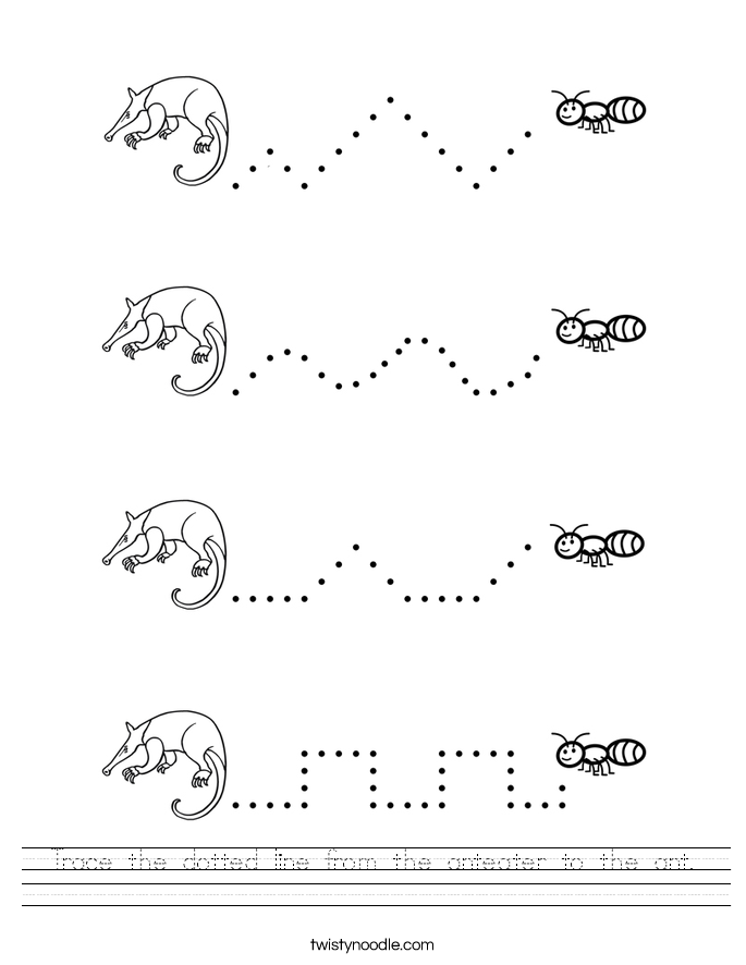 Trace the dotted line from the anteater to the ant. Worksheet