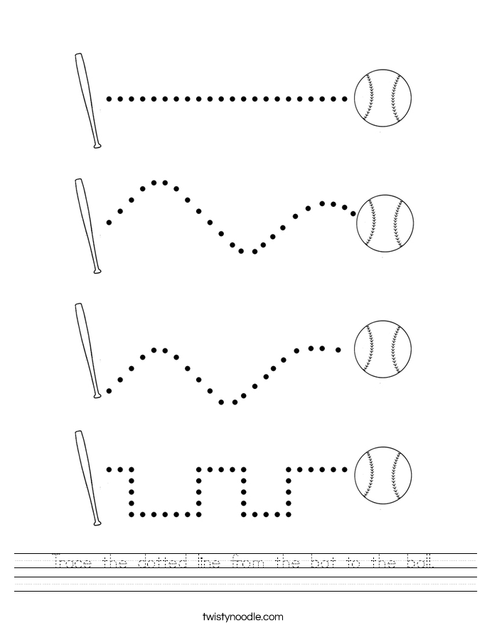 trace the dotted line from the bat to the ball worksheet twisty noodle. Black Bedroom Furniture Sets. Home Design Ideas