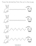 Trace the dotted line from the cat to the mouse Coloring Page