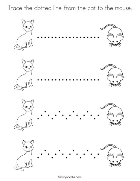 Trace the dotted line from the cat to the mouse. Coloring Page