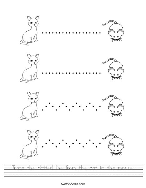 Trace The Dotted Line From The Cat To The Mouse Worksheet
