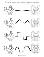 Trace the dotted line from the chicken to the barn Coloring Page
