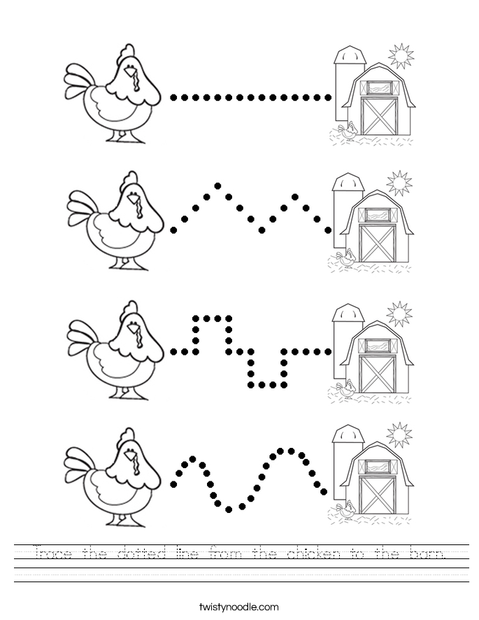Trace the dotted line from the chicken to the barn. Worksheet