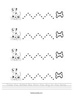 Trace the dotted line from the dog to the bone Handwriting Sheet