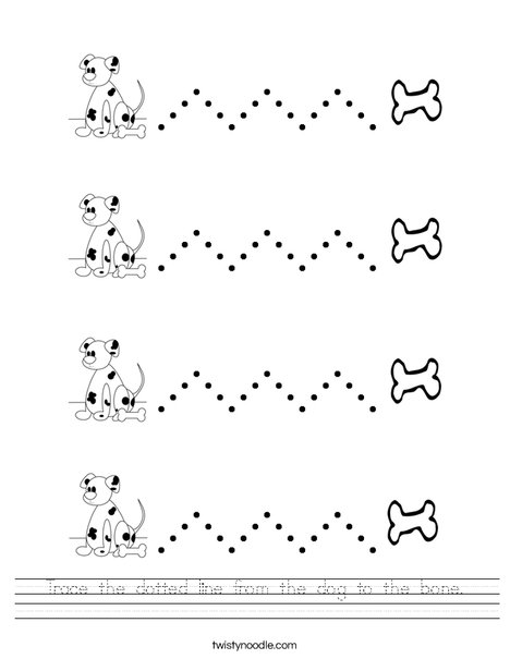 Trace the dotted line from the dog to the bone. Worksheet